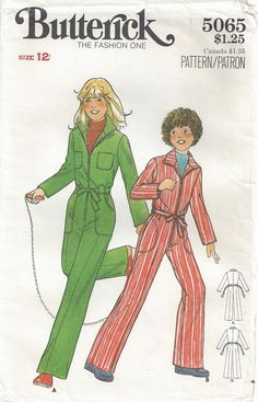5f5e630653cd 1970s Girls  Jumpsuit Front Zipper Back Elastic Waist Long Sleeves Patch  Pockets Overalls Retro Coveralls Butterick 5065 Size 12 Breast 30
