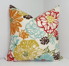 Decorative Pillow Richloom Invigorate Confetti Large Floral Red Blue Yellow Brown 18x18