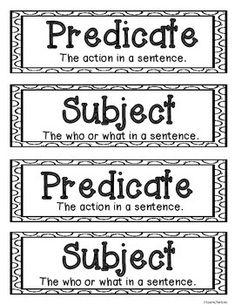 FREE Fall Subject and Predicate Sort