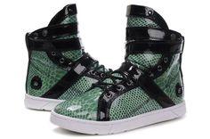 Heyday Footwear Super Shift Green Python Black Sneakers
