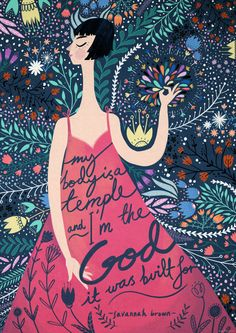 """this is a poster featuring a line from a slam poem i wrote called hi, i'm a slut. it says """"my body is a temple and i'm the god it was built for.""""this poster was designed and illustrated by the lovely maddy vian! you can see more of her work here:http://maddyvian.tumblr.comsize: a3 (29.7 cm x 42 cm)"""
