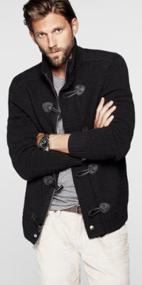 Toggle Front Cardigan and Blake Corduroy Jean from EXPRESS