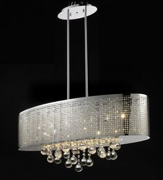 6 Light Chanderlier Metal Shade & Crystal glass in a Chrome Finish Width: Height: Type Bulbs Metal Chandelier, Island Pendants, Chrome Finish, Bulb, Shades, Ceiling Lights, Lighting, Crystals, Glass