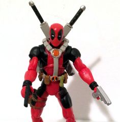 DEADPOOL RED VARIANT 1 w/CUSTOM WEAPONS • C8-9 • MARVEL UNIVERSE HASBRO #MarvelToys