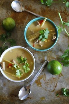 Thai chicken soup with coconut milk and lemongrass