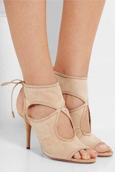 Aquazzura | Sexy Thing cutout suede sandals | NET-A-PORTER.COM