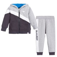 Armani Baby Boys Grey & Navy Blue Hooded Tracksuit at Childrensalon.com