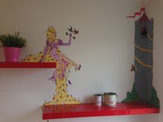 The wall paintings can integrate the furnitures in the picture. Here it's the shelves with princess Rapunzel sitting with her long hair hanging down. Princess Rapunzel, Wall Paintings, Furnitures, Shelves, Long Hair Styles, Canning, Wallpaper, Create, Unique