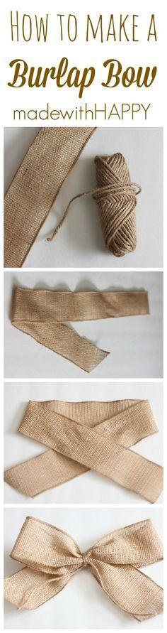 como hacer moño de arpillera atar en el ctro con hilo