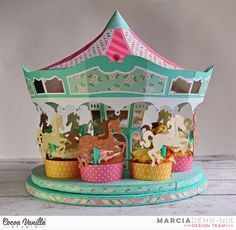 """Carousel Party with Cocoa Vanilla Studios Sugar & Spice collection. This cupcake holder is a digital cut file from @svgcuts . I used my @xyron 9"""" creative station and my @silhouette cameo to put it together. #cocoavanillastudios Carousel Cupcakes, Carousel Party, Carousel Birthday, Carnival Birthday, Circus Party, Fun Crafts, Paper Crafts, Popsicle Stick Crafts, Little Girl Birthday"""