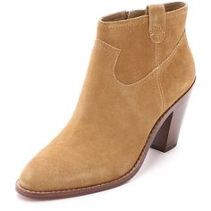 Ash Ivana Booties ($240) ❤ liked on Polyvore featuring shoes, boots, ankle booties, camel, stacked heel boots, pointed toe leather boots, leather boots, camel boots and pointy toe booties