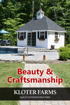 Pool houses are a great, functional addition to any outdoor space. They can be used in a variety of ways, such as for storing pool accessories, changing into your swimsuit, or as a relaxing space to escape the heat. Bring your ideas and let us help you transform your yard! #kloterfarms #ellingtonct #poolhouse #shed #outdoorliving Gazebo, Pergola, Pool Accessories, Custom Pools, Shed Design, Pool Houses, Built In Storage, Sheds, Outdoor Living