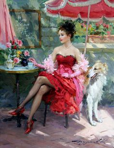 Razumov, Konstantin (b,1974)- Borzoi w Woman Having Tea