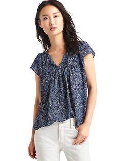 Seersucker flutter sleeve blouse