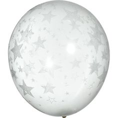 Silver Glitter Stars on Clear Balloon-A Night Under the Stars Prom Decorations