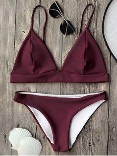 Cami Plunge Bralette Bikini Top and Bottoms - BURGUNDY S