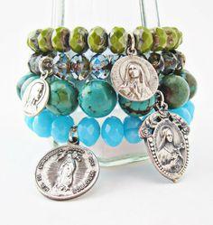 Avocado Green Czech Glass Bracelet with Antique Catholic Lourdes Medal by Peta Fletcher Designs