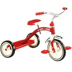 Classic Tricycle Styling - Radio Flyer Classic Red 10 - Inch Tricycle by Radio Flyer. $103.98. Radio Flyer Classic Red 10 - Inch TricycleThe Radio Flyer(r) Classic Red 10-in tricycle brings you classic tricycle styling with a chrome fender and handlebars and a sturdy steel construction. It's set-up with durable steel spoked wheels and real rubber tires.This award-winning Classic Radio Flyer Tricycle is perfect for any toddler looking to ride in style. The signature red body i...