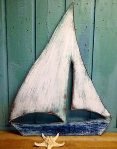 Sailboat Sailing Ship Boat Sign Wall Art Beach House Decor by Painted Driftwood, Driftwood Crafts, Rustic Crafts, Wood Block Crafts, Wood Projects, Sailboat Art, Diy Shutters, Beach Wall Art, Wood Cutouts