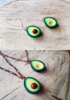 These are handmade polymer clay charms. Minature food, avocado is a great friendship necklace and pendant. Surprise your friend with a great