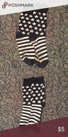 USA Black and White Socks Black and white star socks! Great condition ! Express Underwear & Socks Dress Socks
