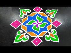 #243 - Kolam Design Art | 11 to 1 Straight Dots | Easy Rangoli Designs | Rangavalli Festival Arts - YouTube New Rangoli Designs, Simple Rangoli, Design Art, Dots, Youtube, Stitches, Youtubers, Youtube Movies
