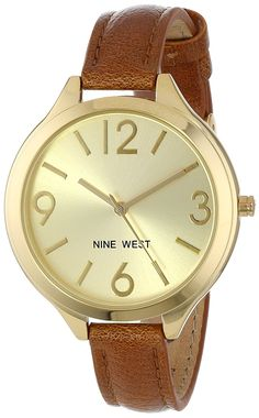 Nine West Women's NW/1556CHBN Gold-Tone Brown Thin Strap Watch * Be sure to check out this awesome watch.