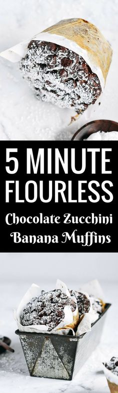 Best healthy flourless banana zucchini muffins. (I would use coconut flour and organic world trade brown sugar or maple syrup.)