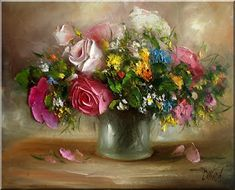 Malarstwo i Fotografia - Ewa Bartosik: Kwiaty Polne Floral Arrangements, Decoupage, Daisy, Paintings, Sunflowers, 1, Artists, Still Life, Jewels