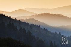 Sunrise, Oconaluftee Overlook, Great Smoky Mountains National Park, North Carolina, USA Photographic Print at Art.com