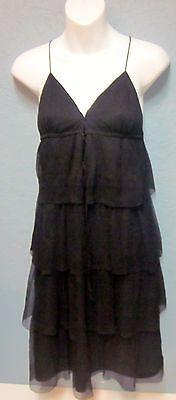 J-Crew-Black-Tiered-Ruffle-Stacked-Silk-Dress-Sz-2-Deep-V-Spaghetti-Straps