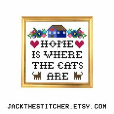 Home is Where the Cats Are Subversive Modern Cross Stitch Template Pattern Instant PDF Download by JackTheStitcher