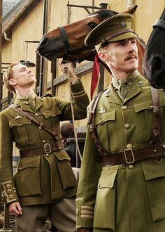 Tom Hiddleston and Benedict Cumberbath in War Horse. I was very impressed by their riding especially benedict's heels! it took me forever to be avbe to keep my heels down like that!