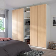 PAX Wardrobe - white, Repvåg white stained oak veneer - IKEA- PAX Wardrobe – white, Repvåg white stained oak veneer – I Wardrobe Hinges, Ikea Pax Wardrobe, Wardrobe Storage, Malm, Fine Furniture, Furniture Making, Quality Furniture, Ikea Pax Doors, Ikea Pax Hack