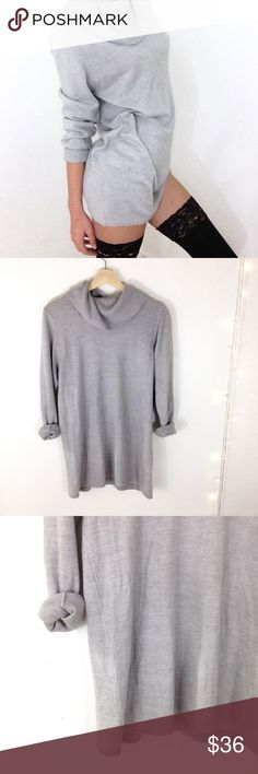 Grey Sweater Dress Adorable cowl neck grey sweater dress, size M. Worn a few times but still in great condition. Heathered grey color. Ribbed cowl neck detail. Zara Dresses Long Sleeve