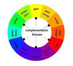 Complementaire kleuren:  kleuren die tegenover elkaar op de kleurencirkel liggen.