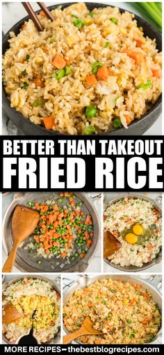 One of the best things about a take-out is the fried rice you get with it. There's always something so tasty about it! But with this Better Than Take-Out Fried Rice, you can make your own version that's even more delicious and available whenever you want it. #chinese #fried #takeout #dinner #sidedish #easy #recipe Beef Recipes For Dinner, Entree Recipes, Side Dish Recipes, Veggie Recipes, Vegetarian Recipes, Chicken Recipes, Cooking Recipes, Healthy Recipes, Side Dishes Easy