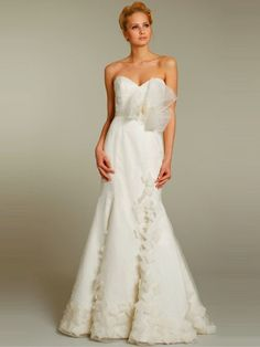 (NO.0254253)2012 Style A-line Sweetheart  Bowknot Sleeveless Court Trains Organza Wedding Dresses For Brides