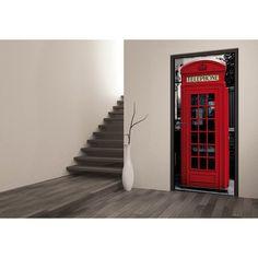 Poster de porte London 7,99 € / unité SOLDES -50% 15.99€ Ce poster représente une cabine téléphonique typique des rues de Londres. Dimensions : 95 x 210 cm. Rues, Decoration, Dimensions, Stairs, London, Home Decor, Murals, Hobby Lobby Bedroom, Telephone Booth