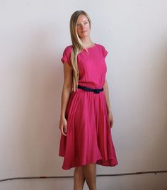 Vintage 70's HOT PINK Dress Size S/M/L by SpunSugarVintage on Etsy