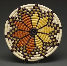 Coiled Plaque by Monica Lomahoyouma (Hopi) Native American Baskets, Native American Pottery, Rope Basket, Basket Weaving, Pine Needle Baskets, Sisal, Willow Weaving, Bubble Art, Beaded Jewelry Patterns