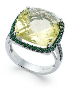 Sterling Silver Ring, Lemon Quartz (9-1/2 ct. t.w.) and Green Swarovski Zirconia (3/4 ct. t.w.) Ring