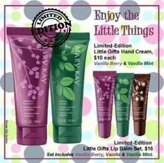Vanilla Berry and Vanilla Mint hand creams and the lip balm set with the same flavors along with Vanilla!