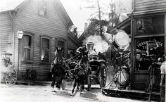 old fire engines | Fire Engine Round The Bend In Old Chicago Photocave Private Collection ...