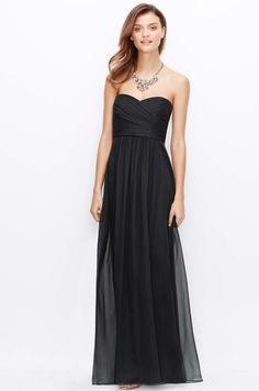 Silk Georgette Shirred Srapless Gown