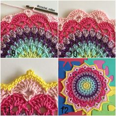 Pattern in English and Swedish. Magnolia mandala is the first flower in my mandala garden. I hope you will enjoy this mandala flower. Inspiration for color combinations can you find here. Crochet Mandala Pattern, Crochet Stitches Patterns, Doily Patterns, Crochet Squares, Crochet Designs, Crochet Doilies, Crochet Flowers, Crochet Crafts, Crochet Yarn