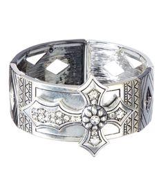 Ethel & Myrtle Rhinestone & Silvertone Cross Stretch Bracelet by Ethel & Myrtle #zulily #zulilyfinds