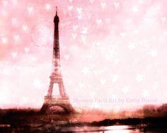 Pink Paris Print Eiffel Tower Paris Photography by KathyFornal