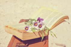 Flowers, book and suitcase