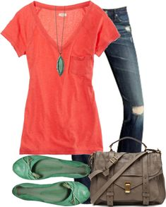 Casual outfit: <3 t-shirt, necklace, shoes, and purse. Color palette: coral, teal, blue, and taupe.